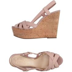 Jessica Simpson Sandals ($112) ❤ liked on Polyvore featuring shoes, sandals, pastel pink, cork wedge heel sandals, leather wedge shoes, leather wedge sandals, jessica simpson sandals and wedge heel sandals