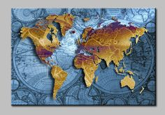 Golden World Map with Blue Sea, Large HD Canvas Print Painting Artwork, Wall Art Picture Gift for Living Room, WHOLESALE T700