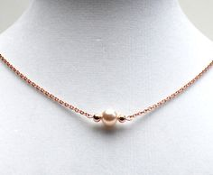 Minimalist Rose Gold Necklace - Cream Rose Pearl and Rose Gold Links on Rose Gold Plated Brass Chain - Bridal Jewelry - Dainty Necklace on Etsy, $25.00