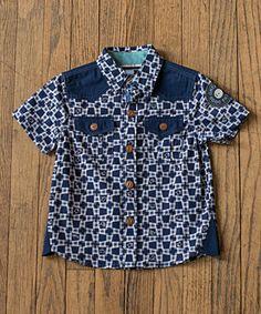 Blue & White Button-Up - Infant, Kids & Tween #zulily #zulilyfinds