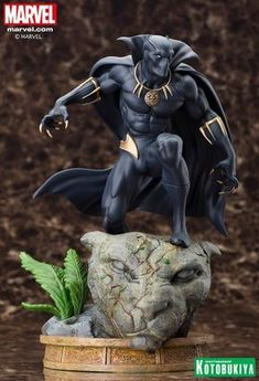 The latest elite Fine Art Statue in the Marvel Comics Presents Kotobukiya Collection adds a classic Avenger and royal hero with the mighty BLACK PANTHER! The most recent in a long line of chieftains of the Panther Clan, T'C Ms Marvel, Marvel Art, Marvel Dc Comics, Marvel Heroes, Marvel Characters, Black Panther Statue, Black Panther Art, Black Panther Marvel, Black Panthers