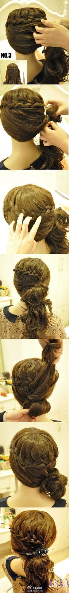 Bun with braid. Add a small clip fascinator.