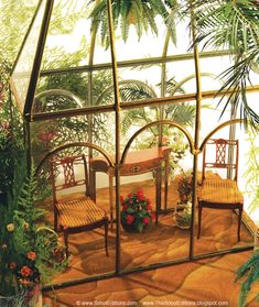 Right at home in the Conservatory is The Atrium Grouping from The Ferd Sobol Editions - Console Table and two hand caned Plantation Chairs. 1/12th scale. www.thesoboleditions.blogspot.com