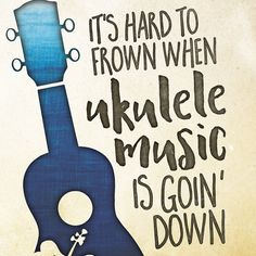 It's hard to frown when ukulele music's going down. A fun little print for my favorite little instrument. Available in you choice of sizes Ukulele Art, Cool Ukulele, Ukulele Songs, Ukulele Chords, Ukulele Drawing, Music Memes, Music Humor, Music Quotes, Painted Ukulele