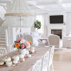 Fall decor. Hamptons style. Coastal style. Beaded chandelier. Falling for fall. @jshomedesign