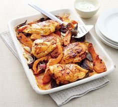 Harissa chicken traybake You only need five ingredients to create this spicy, healthy, low-calorie chicken dish Oregano Chicken, Chicken And Butternut Squash, Bbc Good Food Recipes, Cooking Recipes, Healthy Recipes, Savoury Recipes, Healthy Food, Easy Recipes, Healthy Lunches