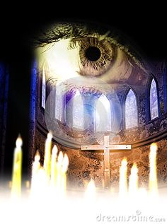 Inside a church or cathedral. lit blurry candles, at the foreground of the cross and the stained-glass windows overhung by an eye which looks at us.