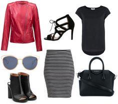 leather jacket - Carl Verssen, high heels, skirt tube strips, black blouse, sunglasses, black handbag