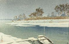 Snow at Koshigaya, by Kawase Hasui, 1935