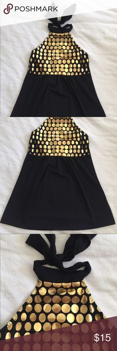 NWOT Gold & Black Halter Top Never worn gold circle halter top size small Tops