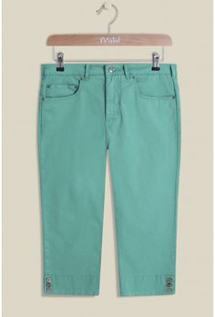 Our Super Trooper Crop Trousers are a summer must-have! Perfect for those warmer months, the bold cool trousers are finished with two front pockets,  split cuffs and pear buttons. Team with one of our tees for a casual look. Also available in Bristol Blue.   97% cotton 3% elastane  These trousers are 29 ins / 74 cm from the highest point to the hem in a size 12.  Also available in Eclipse and Bristol Blue