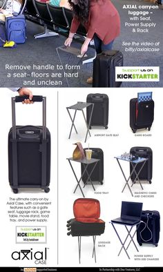 The ultimate carry-on from Axial Case, with a patented handle that turns into a gate seat, luggage rack, game table, movie stand, and food tray. Now on #Kickstarter at http://bitly/axialcase! #travel #luggage