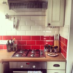 My Beautiful New Kitchen. Love The Red Tiles! #home #kitchen #movingday
