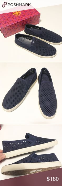 NWT! Tory Burch Jesse Perforated navy sneaker Brand new!  Great shoe, so comfortable and looks so great on..I am so sad they don't fit or I would be keeping them! Sold out pretty much everywhere! Tory Burch Shoes