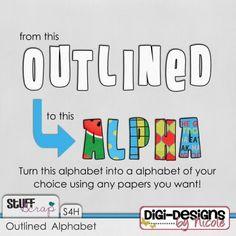 Outlined Alpha by Digi-Designs by Nicole #digitalscrapbooking #scrapbooking #stufftoscrap