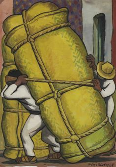 Cargadores - Diego Rivera 1937 Mexican Watercolor on rice paper , 15 x 11 in. x 28 cm. Diego Rivera Art, Diego Rivera Frida Kahlo, Frida And Diego, Mexican Artists, Latino Artists, Mexico Art, Spanish Art, Chicano Art, Museum Of Modern Art