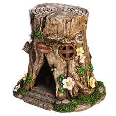 Evergreen Enterprises, Inc Lighted Tree Stump Fairy House Figurine & Reviews | Wayfair