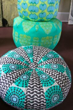 Amy Butler's Lark Fabrics and Gum Drop Pillows and Honey Bun Pouf. Need to use this pattern, It's in the drawer just waiting.