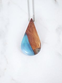 Blue Resin Wood Necklace, Epoxy Wood Jewelry Drop Pendant. Handmade Jewelry by WoodAllGood. #WoodAllGood