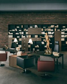 Office & Workspace:Fascinating Executive Workspace Rooms With Brown Work Desk And Black Swivel Arm Chairs With Black Red Swivel Sofa Chairs For Customer On Brown Carpet Floor With Wood Bookself And Lovely Desk Lamp Virtuosity Henrique Steyer: Fantastic Contemporary Workspace designs