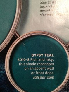 gypsy teal paint by valspar Teal Front Doors, Front Door Colors, Teal Door, Ideas Dormitorios, Color Pallets, My New Room, Colour Schemes, House Painting, Home Design