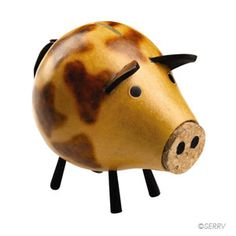 Gourd Piggy Bank This delightful piggy will help you save your coins. Cork snout is removable.