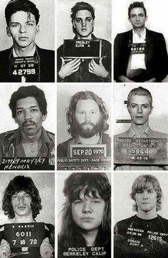 A Collaboration of Vintage Mugshots.  From Top Left, Frank Sinatra, Elvis Presley, Johnny Cash, Jimi Hendrix, Jim Morrison, David Bowie, Mick Jagger, Axl Rose, and Kurt Cobain.