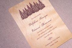 Real Wood Wedding Invitations - Pine Tree Forest. $10.00, via Etsy.
