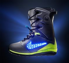 Nike Snowboarding LunarENDOR Quickstrike.  With the release of their new LunarENDOR snowboard boot that features a light-up Swoosh powered by 30 LED lights, Nike just locked down real estate in pretty much every possible holiday product roundup this holiday season. Good job guys. In addition to the lights, the boot's outsole features Lunarlon while Flywire is hidden somewhere in the upper. Available mid-December in limited quantities at select Nike stores.