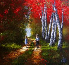 Straying From the Path - © 2011 Dima Dmitriev - boy girl childhood retro black canvas vintage young heading home return path road Живопись Online Artworks Painting Gallery, Art Gallery, Plan Image, Image Nature, New Artists, Magazine Art, Beauty Art, Beautiful Paintings, Oeuvre D'art