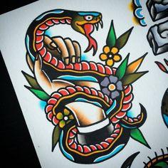 Traditional Tattoo Patterns, Traditional Style Tattoo, Traditional Tattoo Old School, Rattlesnake Tattoo, Jack Tattoo, Tattoo Ink, Tatuagem Pin Up, Tatuagem Old Scholl, Old Scool