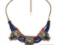 Egyptian Necklace Exotic Necklace Unique Necklace Bib by ctroum