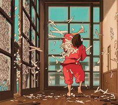 Chihiro & the Paper Planes | Spirited Away | Miyazaki | Studio Ghibli | (gif)
