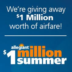 Allegiant Air is giving away some serious goods! Aside from a grand prize of two round trip flights per month for a year, they're giving away a whopping 480 weekly ticket prizes in the form of round trip flights on the airline. Ends Sept. 4, 2016