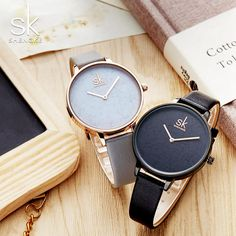 Women's Simple Cheap Watch - Shengke Women Leather Watch Simple Style Watch Women Gold Dial Female Wristwatch Quartz Clock Lady Romantic Gifts 2018 New Outfit Accessories From Touchy Style Gold Watches Women, Trendy Watches, Cheap Watches, Cool Watches, Women's Watches, Accesorios Casual, Romantic Gifts, Romantic Dates, Beautiful Watches