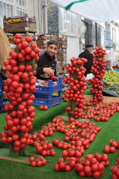 Vegetable market in Istanbul.Amazing display.
