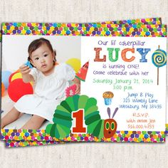 Hungry Caterpillar Invitation - Custom Photo Printable Design on Etsy, $15.00 | The Very Hungry Caterpillar Party Ideas