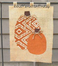 Burlap Pumpkins Garden Flag Outdoor Garden by BlueMountainBurlap