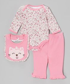 Take a look at this Pink Kitty Bodysuit Set by Petite Bears on #zulily today!