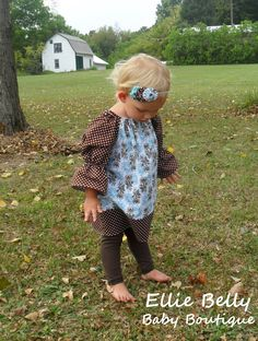 Turquoise and Brown Peasant Dress in Fall Flowers with coordinating brown polka dot accent. Girls size 6 - 11/12 years.. $31.00, via Etsy.