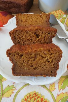 Pumpkin Bread  (Egg less) - A moist, melt in your mouth pumpkin flavored bread that contains no eggs, just lots of flavor and only 66 calories a slice!!