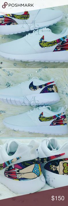 Wonder Woman custom Nike roshe Custom Nike Roshe Cleveland Cavaliers print  DISCLAIMER  MY CUSTOM FOOTWEAR' items are not licensed products of DC, or any trademark/copyrighted company you may see in the work. However, this item is crafted using a licensed fabric. MY CUSTOM FOOTWEAR is not affiliated with or sponsored by DC  SHOE DETAILS -Sizing-  Shoes fit true to size. -Fabric-  Fabric will be on the back of the shoe, and on all four Nike Swooshes. -Brand- Authentic Nike shoes.  -Cleaning…