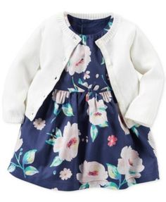 Carter's 2-Pc. Cardigan & Floral-Print Dress Set, Baby Girls $16.99 Keep her warm-weather style extra fresh with the sleeveless floral dress—paired with a classic cardigan—in this set from Carter's.