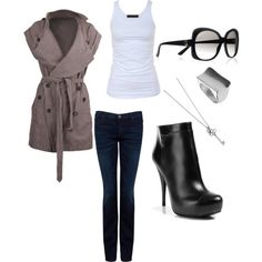 not sure about the jeans and shoes- might pick a pointy toe- bot love the tank, jacket, dark wash and black shoe combo