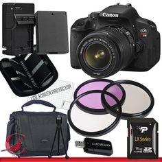 Canon EOS Rebel T4i Digital Camera with EF-S 18-55mm f/3.5-5.6 IS II Lens Package 2 by Canon. $854.26. Package Contents:  1- Canon EOS Rebel T4i Digital Camera with EF-S 18-55mm f/3.5-5.6 IS II Lens With all supplied accessories 1- 16GB SDHC Class 10 Memory Card 1- Rapid External Ac/Dc Charger Kit   1- USB Memory Card Reader  1- Rechargeable Lithium Ion Replacement Battery  1- Weather Resistant Carrying Case w/Strap  1- Pack of LCD Screen Protectors  1- Camera ...