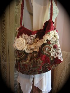 Handmade Red Tapestry bag, soft velvet chenille fabric by GrandmaDede