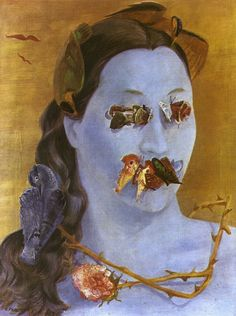 Roland Penrose, Winged Domino (Portrait of Valentine), Oil on canvas, 60 x 44 cm., 1937.