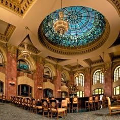 """Camino Real El Paso Hotel  Tiffany stained glass dome that tops the 1912 Camino Real Hotel's Dome Bar in El Paso,Texas is said to be the largest Tiffiny glass structure of it's kind, """"West of the Mississippi""""! It is truly stunning to sit down and look up at it in all it's glory."""