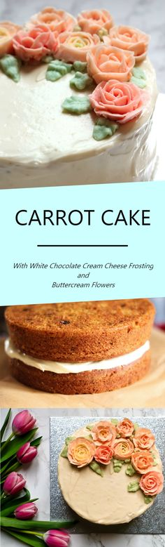 Recipe for an easy, moist and scrumptious carrot cake with decadent white chocolate cream cheese frosting.