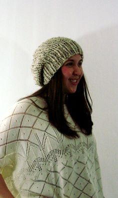 Oatmeal Brown Chunky Knit Slouchy Beret Hat by LaurasLovelyKnits